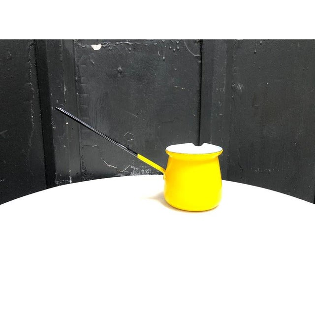 Vintage 1950s-60s Knobler Poland yellow enamel/metal handled pitcher/ladle/scoop. Some minor chipping to surface paint in...