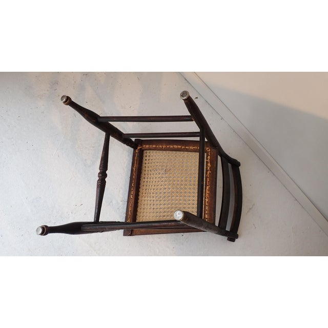 Black Antique Country Black Caned Chair For Sale - Image 8 of 8