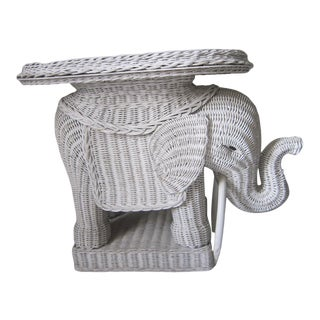 1960s White Wicker Elephant Side Table For Sale