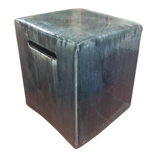 Contemporary Dark Grey Ceramic Indoor/Outdoor Stool or Table Made in Vietnam For Sale