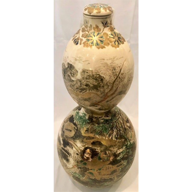 Asian Pair Antique Japanese Double Gourd Shaped Satsuma Porcelain Bottle Urns, Circa 1860. For Sale - Image 3 of 4