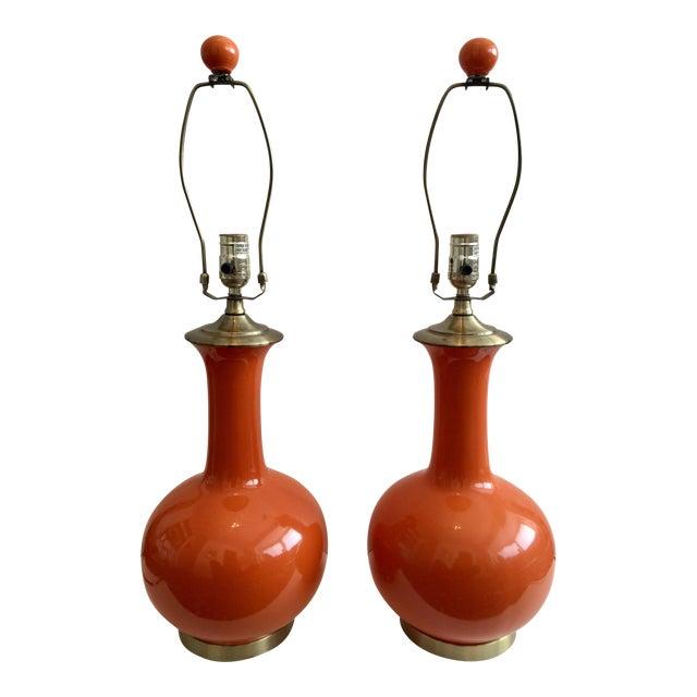 Mid-Century Ceramic Orange Lamps - A Pair - Image 1 of 4
