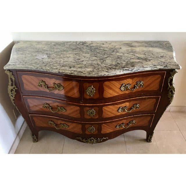 French Antique French Chest of Drawers Bronze Mounted & Marble Top Commode Signed v. Gillino For Sale - Image 3 of 7