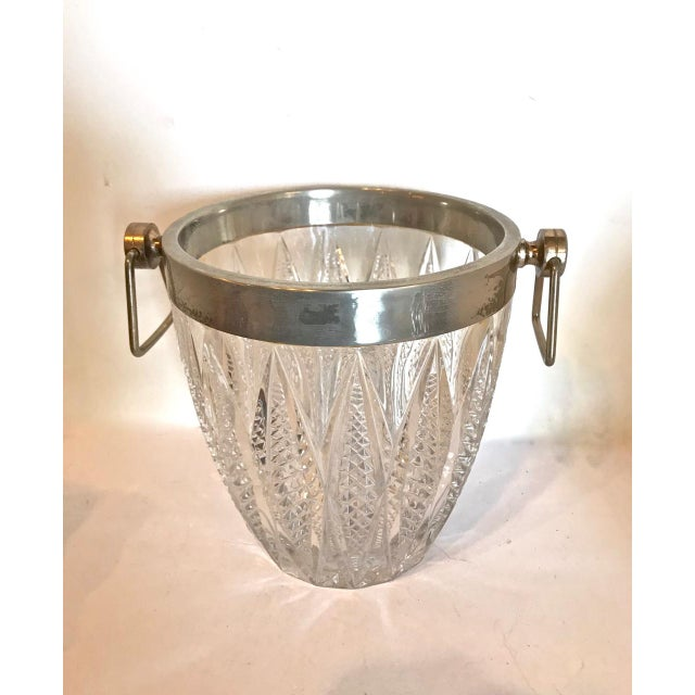 Mid 20th Century Cut Crystal and Silver Plate Ice Bucket, 20th Century For Sale - Image 5 of 5