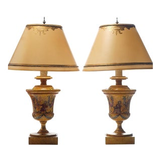 Vintage Italian Style Hand Painted Wood Lamps - a Pair For Sale