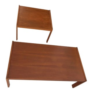 20th Century Danish Modern Bent Silberg Mobler Teak Coffee Table & End Table - 2 Pieces For Sale