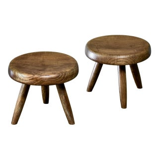 Charlotte Perriand Pair of Low Tripod Stools, France For Sale