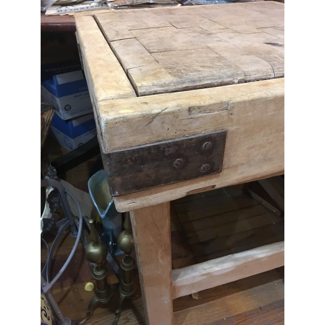 Old English Wood Butcher Block on Stand For Sale In New York - Image 6 of 6
