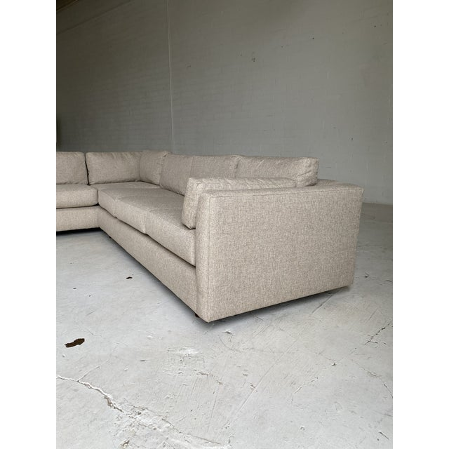 Textile Mid Century Newly Upholstered 2-Piece Tan Sectional For Sale - Image 7 of 11