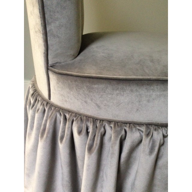Mariete Himes Gomez Skirted Slipper Chair & Profiles Nyc Black Gesso Scallop Shell Mirror - Image 8 of 8