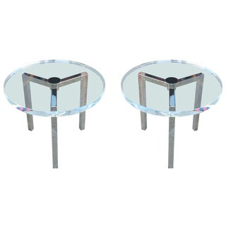 Pair of Lucite and Nickel Side Tables by Charles Hollis Jones For Sale