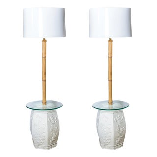 Custom White Garden Stool & Bamboo Floor Lamps - A Pair For Sale