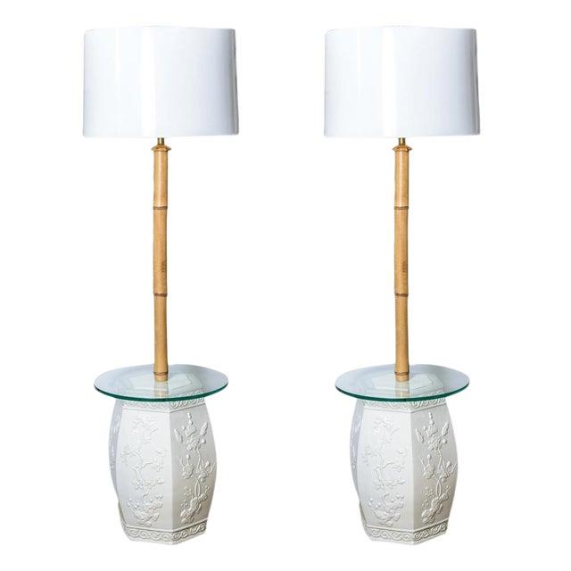 Custom White Garden Stool & Bamboo Floor Lamps - A Pair For Sale
