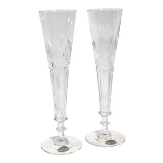 Vintage Bohemia Crystal Cut Champagne Flutes - Set of 2 For Sale