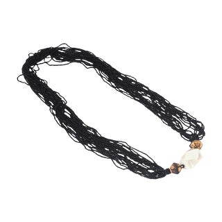 Multi-Strand Black Bead Necklace For Sale