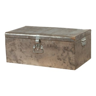 Indian Vintage Metal Tool Box with Distressed Silver Colored Finish and Handles For Sale