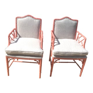 Vintage Palm Beach Regency Chinese Chippendale Faux Bamboo Arm Chairs - a Pair For Sale