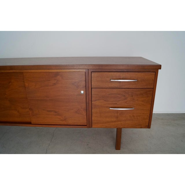 Brown 1960s Mid-Century Modern Refinished Walnut Credenza For Sale - Image 8 of 13