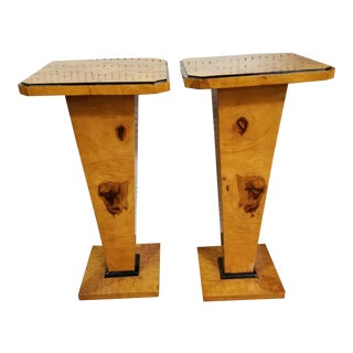 Art Deco Biedermeier Birdseye Maple Pedestals - a Pair For Sale