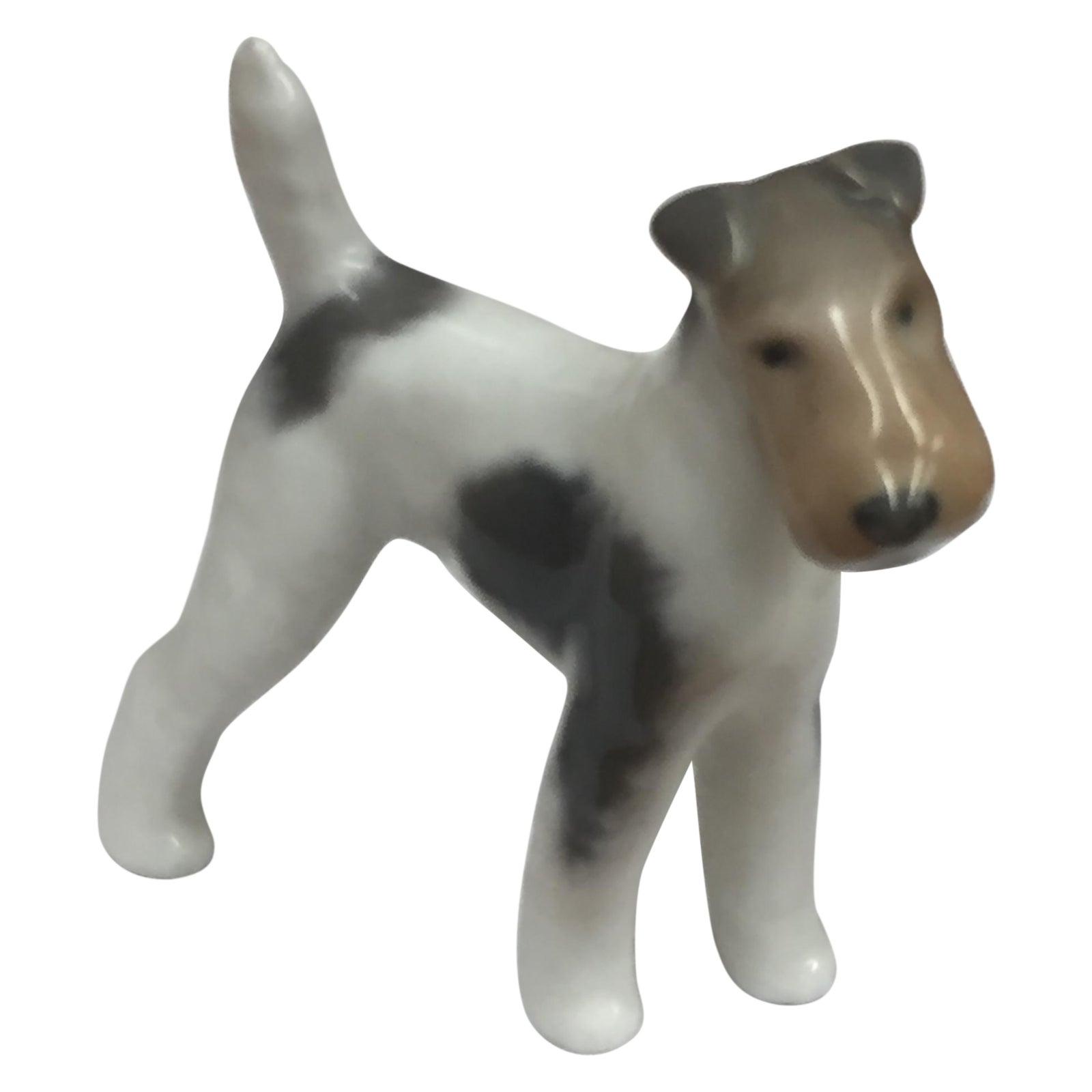 Royal Copenhagen Antique Porcelain Fox Terrier | Chairish