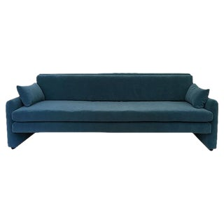 Dominic Michaelis Mid-Century Modern Low Velvet Sofa For Sale
