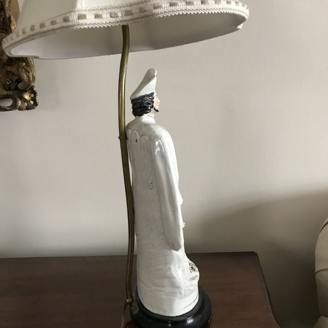 Cream Antique Staffordshire Figure Bagpiper/Dog Lamp With Shade For Sale - Image 8 of 12