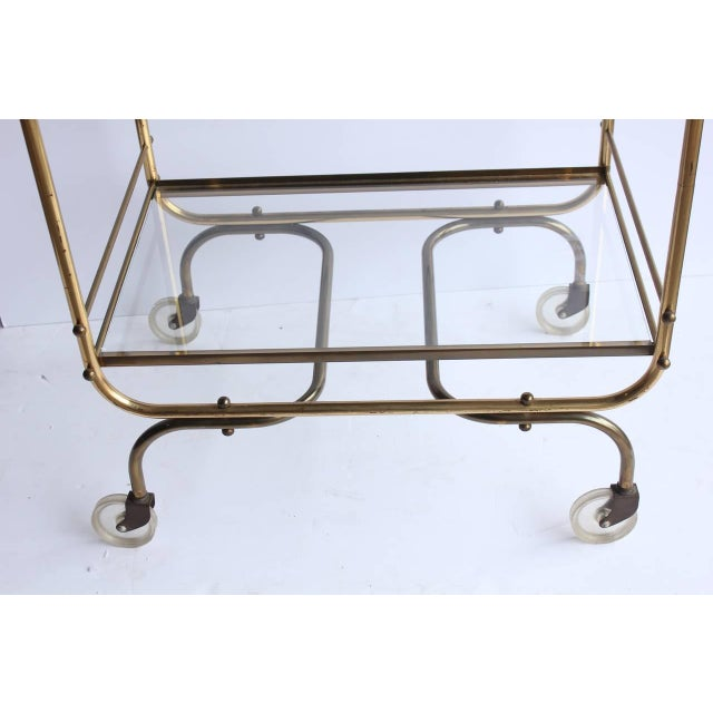 Vintage Mid Century Brass Bar Cart For Sale - Image 4 of 5