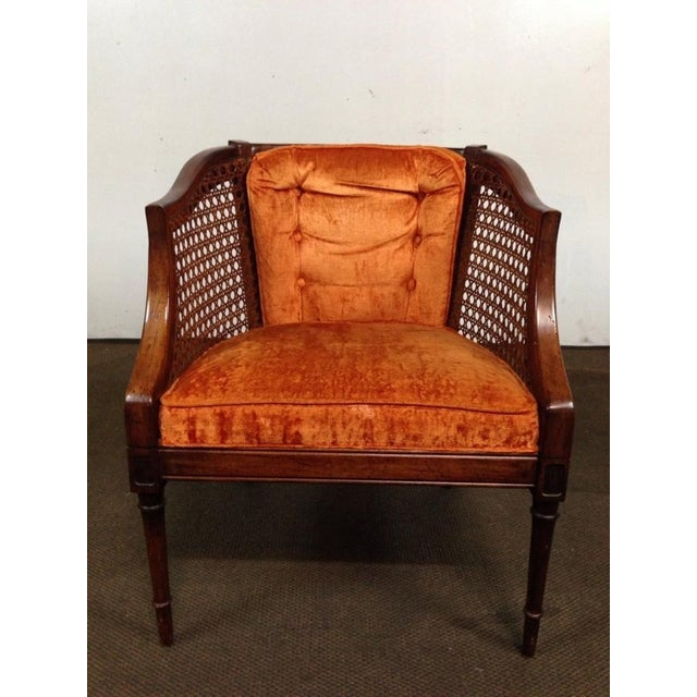 Antique Walnut & Cane Velvet Upholstered Armchair - Image 2 of 5