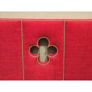 Modern Red Chenille Upholstered King Headboard Preview