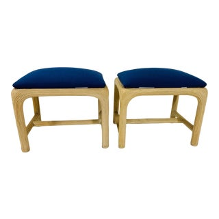 Pair of Hollywood Regency Reed Upholstered Benches For Sale