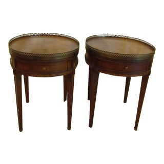 Baker Oval Walnut Bouillotte Side Tables - a Pair
