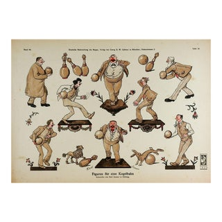 1920 German Bowling Skittles Lithograph For Sale