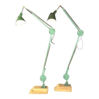 1960s Green Enamel Articulating Industrial Floor Lamps - a Pair For Sale