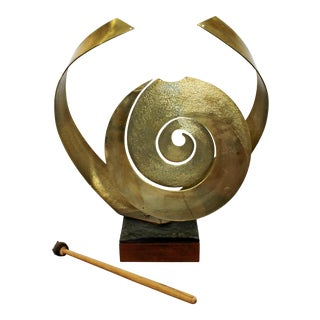 Mid Century Modern Nani Bronze Sonambient Gong Table Sculpture For Sale