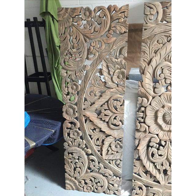 Floral Carved Wood Panels - Set of 3 - Image 5 of 8