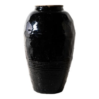 Antique Black Glazed Wine Jar IV For Sale