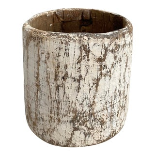Rustic Whitewashed Wood Honey Pot For Sale