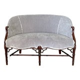 Image of Chippendale Style Dove Gray Upholstered Settee For Sale