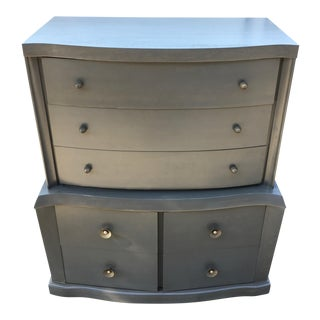 1940s Vintage Grey Mahogany Highboy For Sale