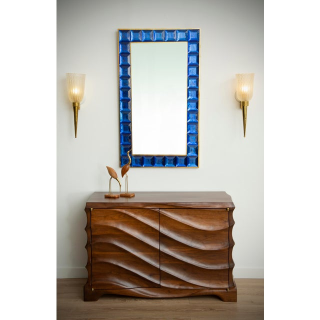 Contemporary blue diamond cut Murano glass mirror (2 available), in stock Vivid and intense cobalt blue glass block with...