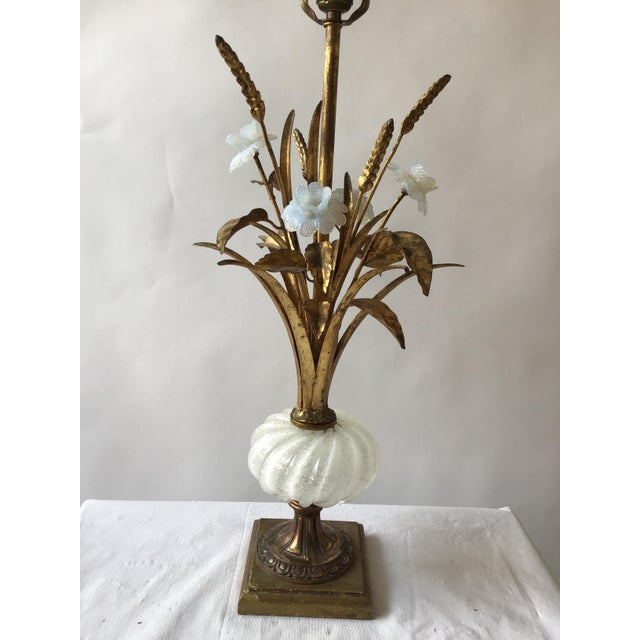 Mid-Century Modern 1950s Murano Glass Floral Table Lamp For Sale - Image 3 of 11