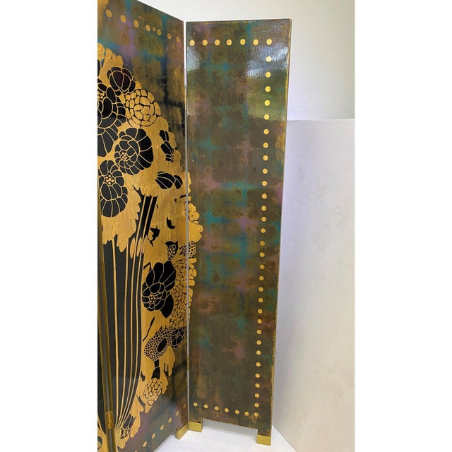Vintage Art Deco E J Ruhlmann Style 4-Panel Room Divider Screen For Sale In West Palm - Image 6 of 13
