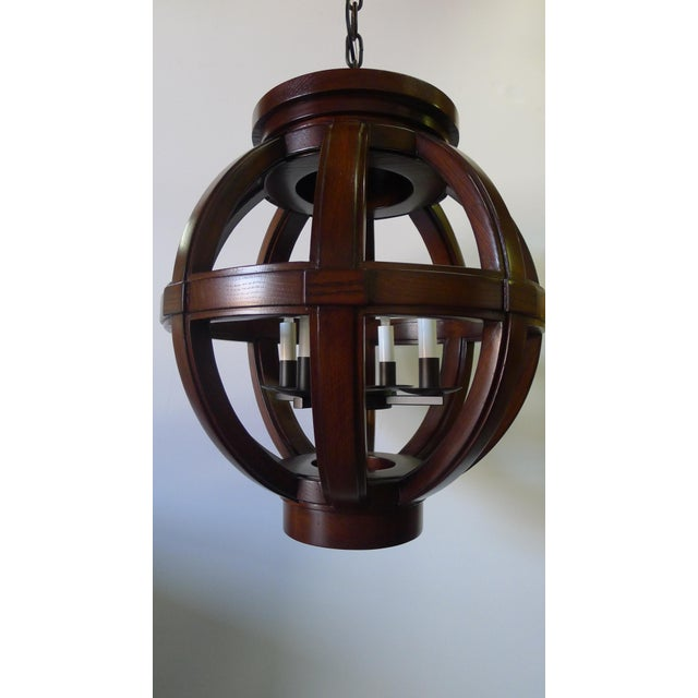 Modern Carved Wood Sphere Chandelier Pendant by Paul Marra For Sale - Image 3 of 8