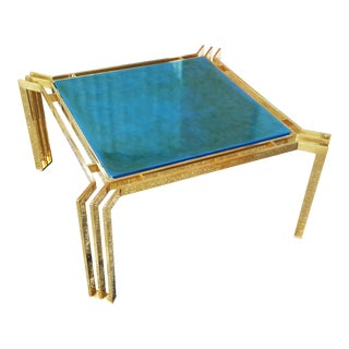 Mid-Century Modern Brass and Blue Lacquer Coffee Table For Sale
