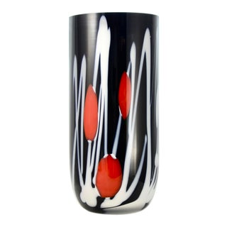 Black & White Blown Art Glass Vase For Sale