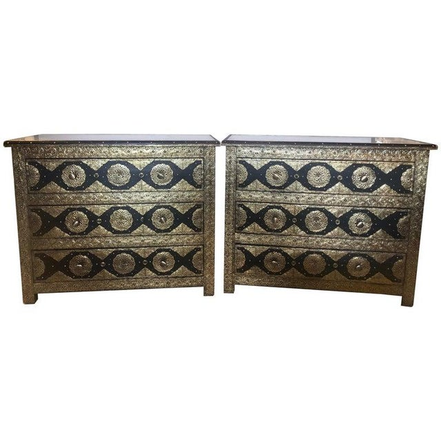 Pair Brass & Ebony Hollywood Regency Style Moroccan Commodes, Chests Nightstands For Sale - Image 13 of 13