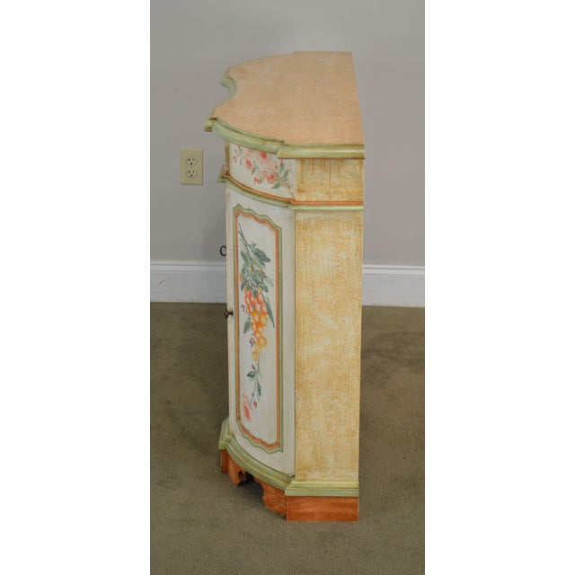 Italian Hand Painted Narrow Serpentine Console Cabinet For Sale In Philadelphia - Image 6 of 13