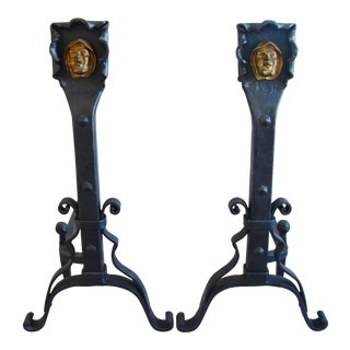 Large Vintage Hand-Forged Iron Monk Fireplace Andirons For Sale
