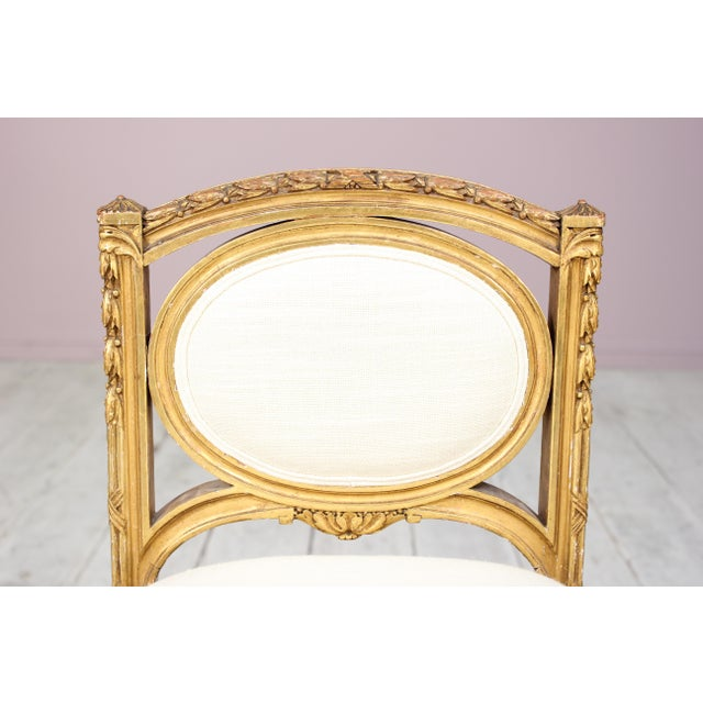 French 1920s Vintage French Louis XVI-Style Gilt Wood Bench For Sale - Image 3 of 6