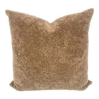 Tan Curly Sheepskin Pillow by Tasha Tarno For Sale
